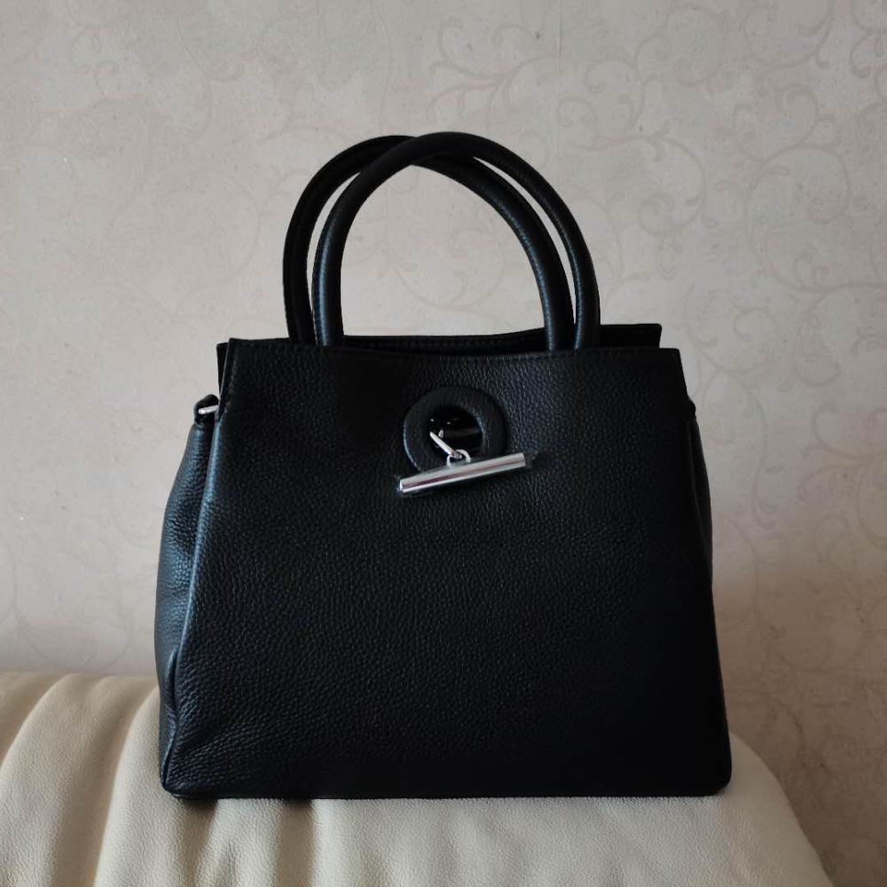 Designer Women Tote Bag 100% Genuine Cow Leather Handbag Black Lady Crossbody Messenger Purse High Quality Shoulder Bags