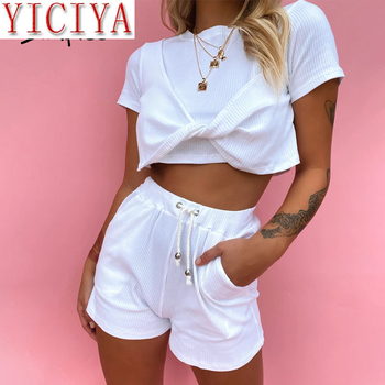 white Ladies Top Shorts Sets 2020 summer Casual Crew Neck Two-piece Women Shirt Shorts Set Short Sleeve High Waist Female Suits casual matching sets summer two piece set o neck short sleeve t shirt high waist side striped shorts sets