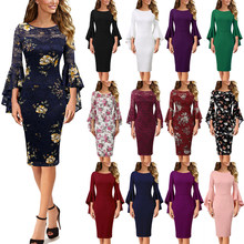 Vfemage Womens Elegant Bel Mouw Bloemenprint Kant Solid Fashion Pinup Formele Party Cocktail Bodycon Pencil Schede Jurk 1703(China)