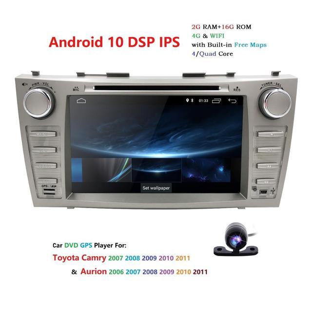 """1024*600 2Din dört çekirdekli 8 """"Android 10 araç dvd oynatıcı GPS navigasyon Toyota Camry 2007 2008 2009 2010 2011 kafa ünitesi araba Stereo radyo"""