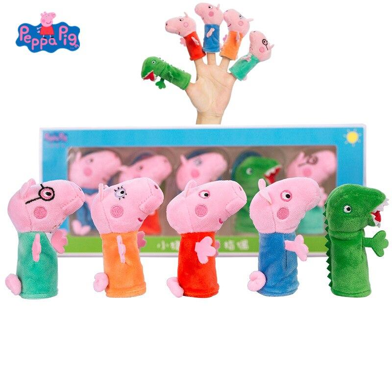 원래 5 pcs 세트 peppa 돼지 조지 아기 수면 손가락 인형 봉제 인형 장난감 핑크 돼지 친구 파티 어린이 생일 크리스마스 선물