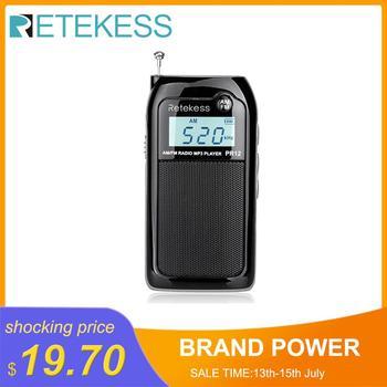 Retekess PR12 Mini Pocket Radio FM AM Digital Tuning Radio Receiver 9K/10K MP3 Music Player Rechargeable Battery Portable Radio цена 2017