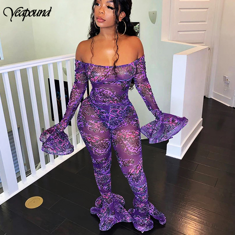 BLUE FLORAL LACE SEE THROUGH SHEER LONG SLEEVES PARTY JUMPSUIT ROMPER CATSUIT UK
