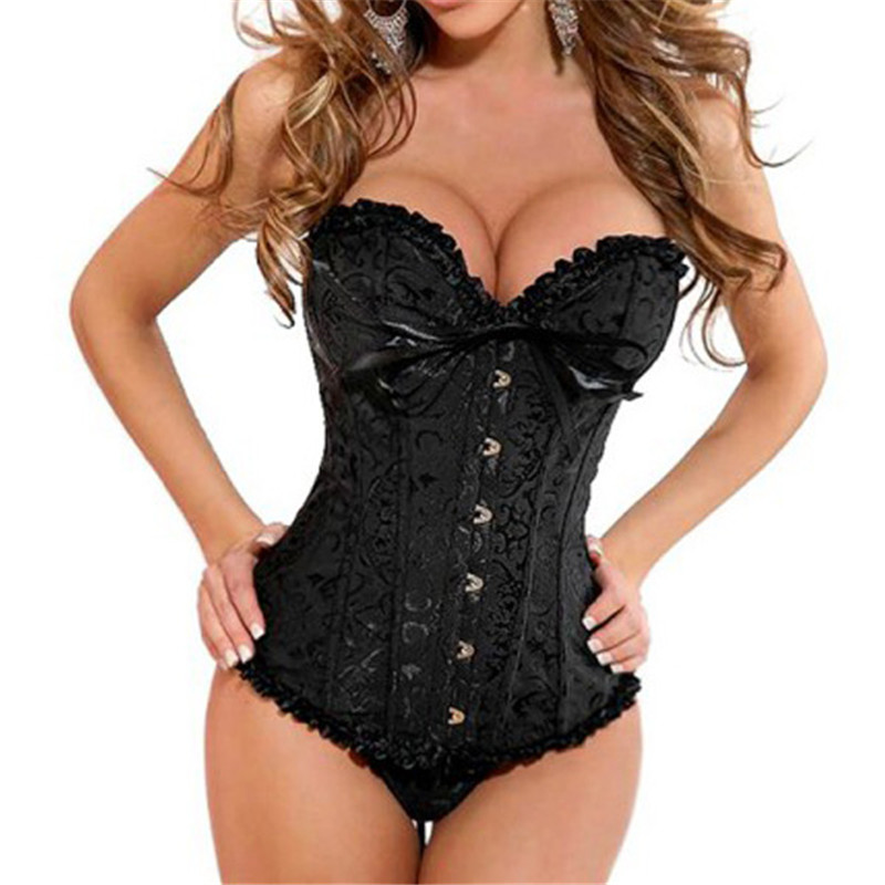 Sexy Women Slim Satin   Corset   Brocade Floral   Bustier   Top Lace Up Back Lingerie Hostell Body shaper Waist Shapewear