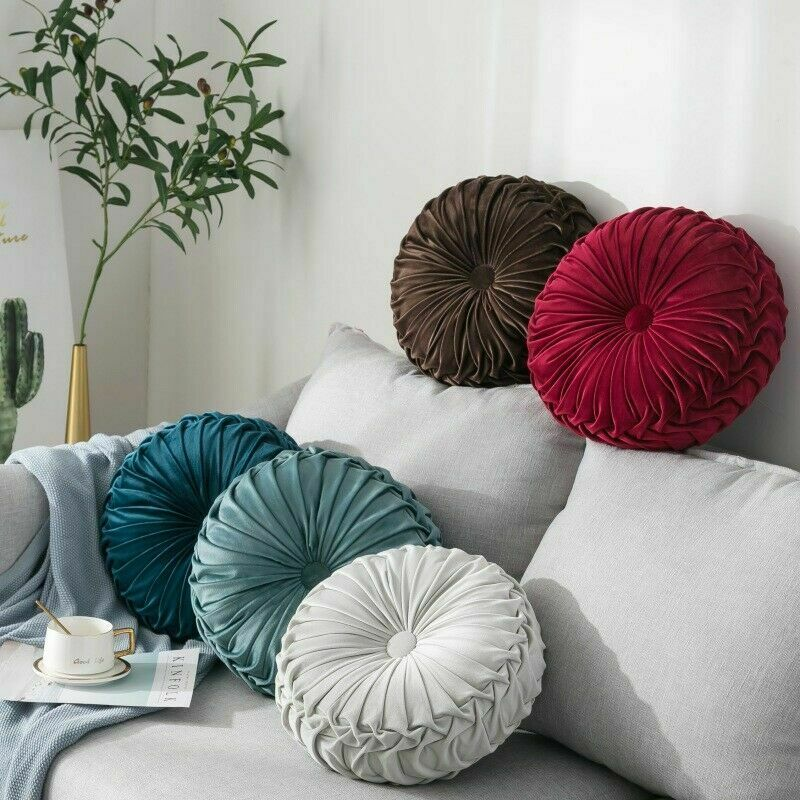 Newest Home Textile Velvet Pleated Round Solid Color Cushion Pouf Throw Home Soft Cushion
