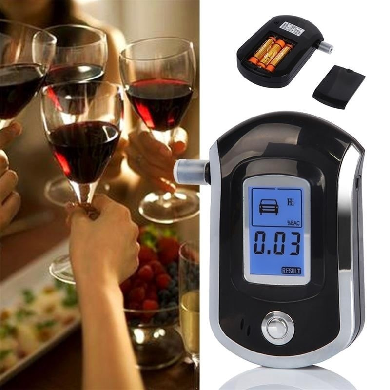 New Digital Breath Alcohol Tester Breathalyzer With LCD Dispaly With 5 Mouthpieces AT6000