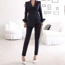 Navy Striped Office Ladies Suit Formal Blazer Jacket Long Pants Business Outfits Women Sexy Slim Fit Two Piece Pants Suits Sets(China)