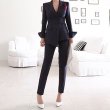 Navy Striped Office Ladies Suit Formal Blazer Jacket Long Pants Business Outfits