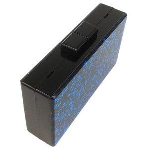 Image 4 - Boutique De FGG Blue Glitter Women Fashion Acrylic Evening Handbags Box Clutch Hard Case Ladies Casual Chain Crossbody Bag