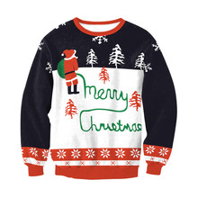 Winter Christmas Costume Ladies Sweatshirt Print O-Neck Loose Top Long Sleeve Women Pollover Sally Nightmare Before Christmas father christmas print loose fit sweatshirt