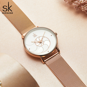 Image 4 - Shengke 여자 패션 쿼츠 시계 레이디 메쉬 손목 시계 아내를위한 고품질 캐주얼 방수 손목 시계 선물 2020