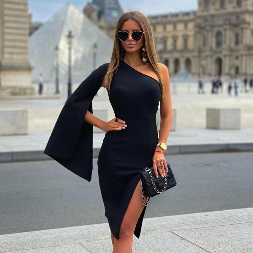 2020 New Arrival Bandage Dress Balck One Shoulder Sexy Women Summer Autumn Party Club Bodycon Dresses Elegant Ladies Clothes(China)