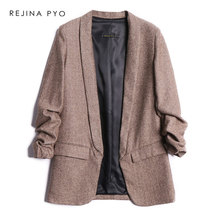 BIAORUINA Women Tweed Vintage Chic Blazer Notched Collar Pleated Sleeve Office L