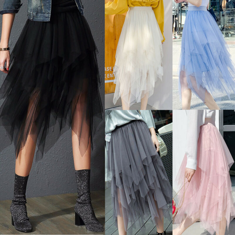 Women Ladies Sweet Style Fashion Casual High Waist Tulle Tutu Skirt Elastic Mesh Net Solid Layered Princess Party Buttom