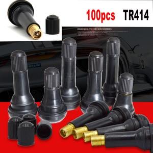 Image 1 - 100 sztuk bagażnik samochodowy opony bezdętkowe zawór macierzystych rdzeń zawór opony Tr414 guma Auto opona samochodowa zawór opony zawór opony czapki (stop cynku) A30