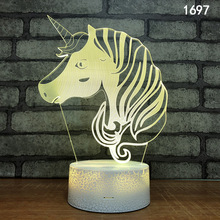 3D Vision Unicorn Rainbow USB Light Creative 3D Illusion Effect Festival Night Light Gift Cute LED Unicorn Rainbow Night Light