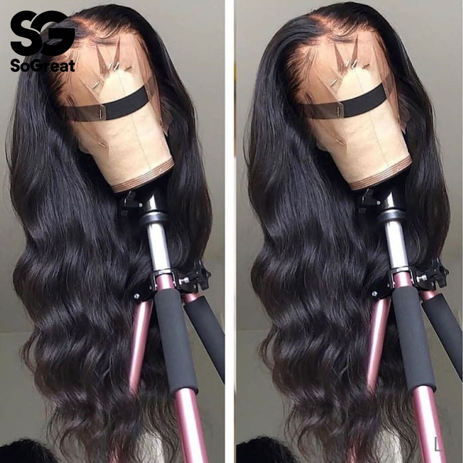 Body Wave Lace Front Wig 13x6 Pre Plucked Glueless Closure Frontal For Afro Black Women 28 30 Inch Non-remy Human Hair Wigs 150%