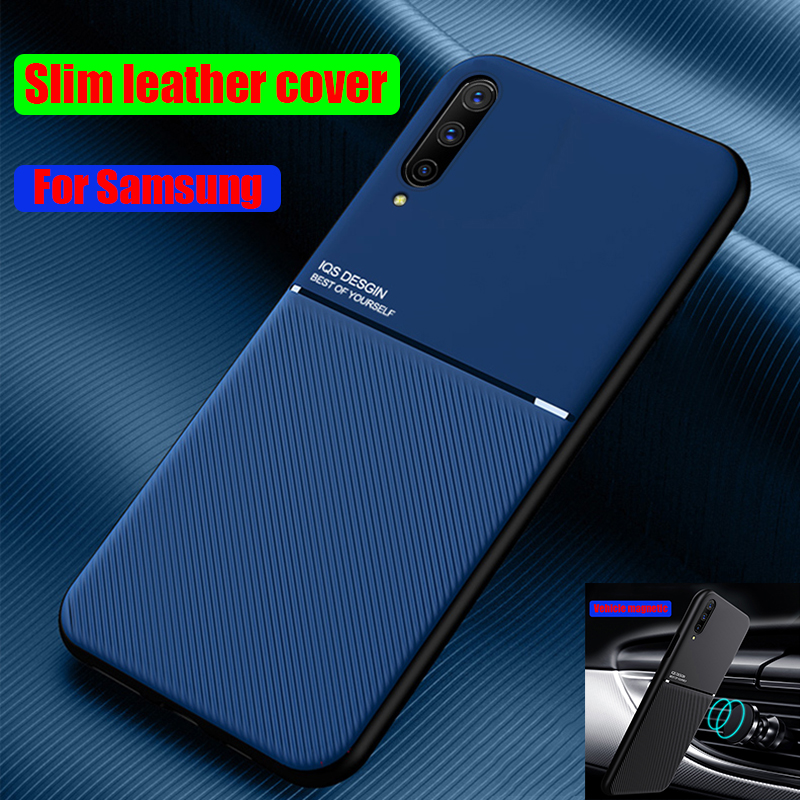 Slim Leather Texture Matte Phone Case For Samsung S20 S10 S9 S8 S10E Note 10 9 8 20 Plus A71 A51 A70 A50 A30 car magnetic Cases