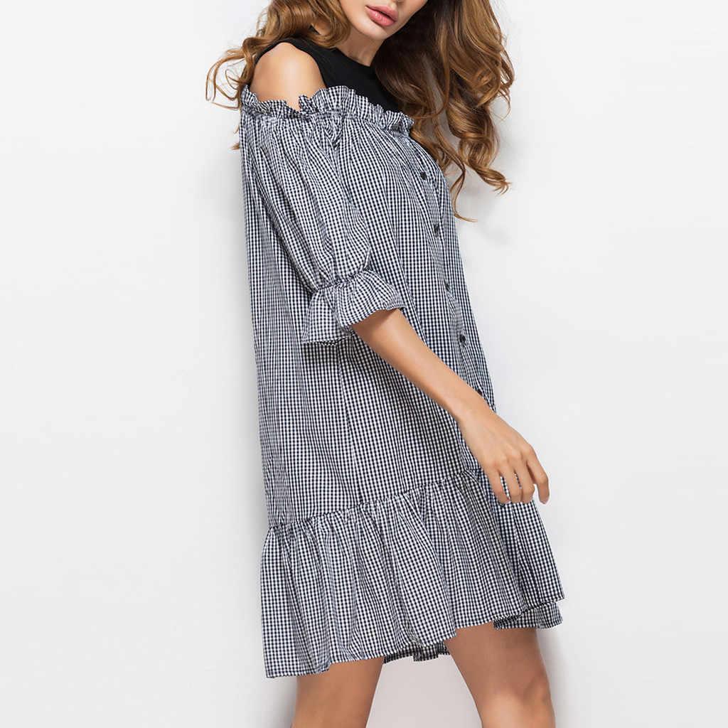 2019 рюшами с открытыми плечами короткая клетчатая сексуальное платье Для женщин, с буффами на рукавах, Пояса Вечерние Платье Бохо пляжное летнее платье