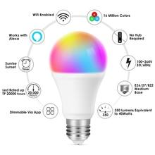 E27 WiFi Smart Bulb 85-265V 9W LED Home Smart WiFi Bulb Sound and Light Control Color Bulb Lamp European and American Universal