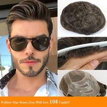 Мужской парик bymc тонкий моно 100% индийские волосы remy французское