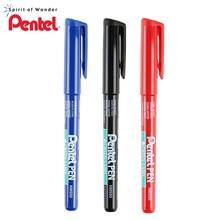 Pentel – stylo marqueur permanent avec étiquette verte, 1mm, couleurs noir/bleu/rouge, NMS50