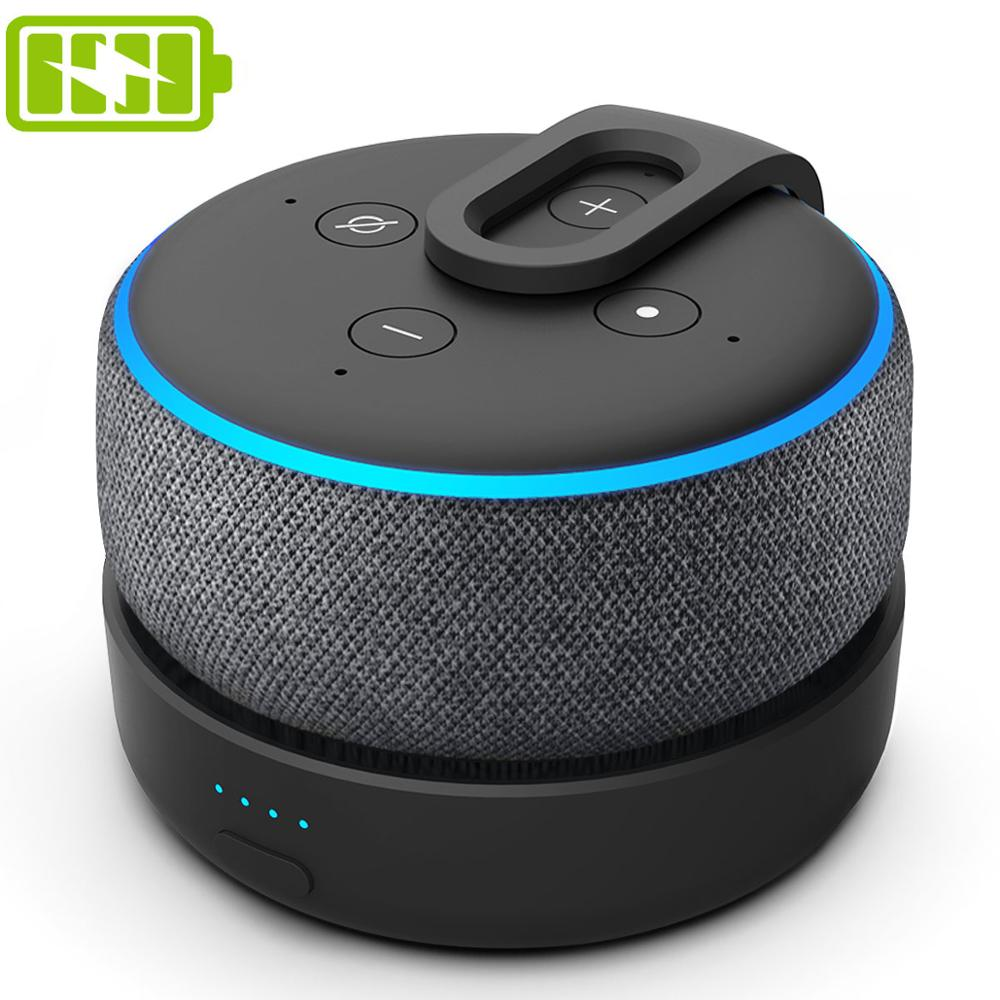 GGMM D3 Battery Case For Amazon Alexa Echo Dot (3rd Gen) Battery Charging For Echo Dot 3 With 5200mAh 8 Hours Playing Time