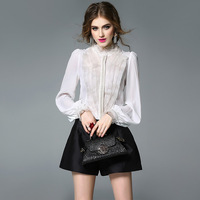 white lace chiffon silk blouse for women high quality long sleeve 4XL plus size casual sexy office dress shirts dropshipping