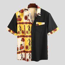 Man Fashion Printed Loose Camisa Streetwear Hombre Chemise Men Patchwork Shirts Summer Short Sleeve Lapel Blusas S-5XL INCERUN