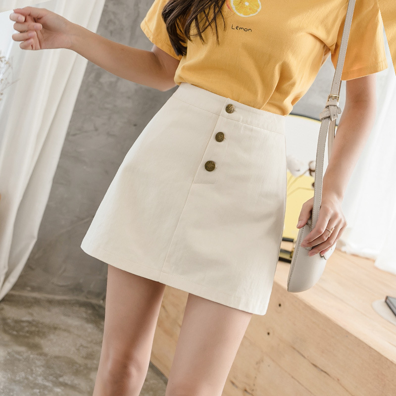 Single Breasted A-line Skirt Women 2020 Summer Solid Mini Skirt Femme High Waist Korean Skirt Femme Elegant Skirt Mujer