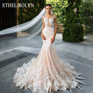 Image 1 - ETHEL ROLYN Sexy Backless Mermaid Wedding Dress 2020 Short 3D Flowers Illusion Appliques Wedding Gowns vestido de novia