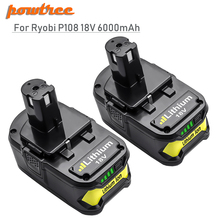 Powtree For Ryobi 6000mAh 18V P108 Li-Ion Rechargeable Power tool battery Replacement RB18L40 P107 P104 BIW180 L30
