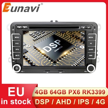 Eunavi 2 Din Android Car DVD Radio Multimedia Player GPS for VW GOLF 5 6 Polo Bora Jetta Passat b6 b7 Tiguan Subwoofer Autoradio image