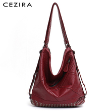 CEZIRA Women PU Washed Leather Backpack Design Large Shoulder Bags Ladies Punk Rivets Function School Bag Knapsacks Travel Bags