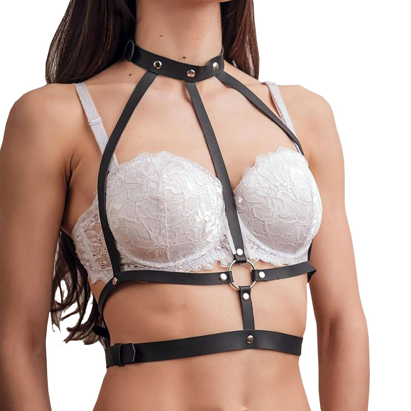 New Leather Harness Body Belt For Women Garter Belt Gothic Sexy Stocking Straps Bondage Cage Leather Suspenders Waist Belt