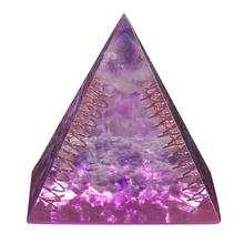 TUMBEELLUWA Healing Purple Crystal Copper Wire Orgonite Pyramid Energy Generator Reiki Stone Resin Figurine for Wicca Balancing