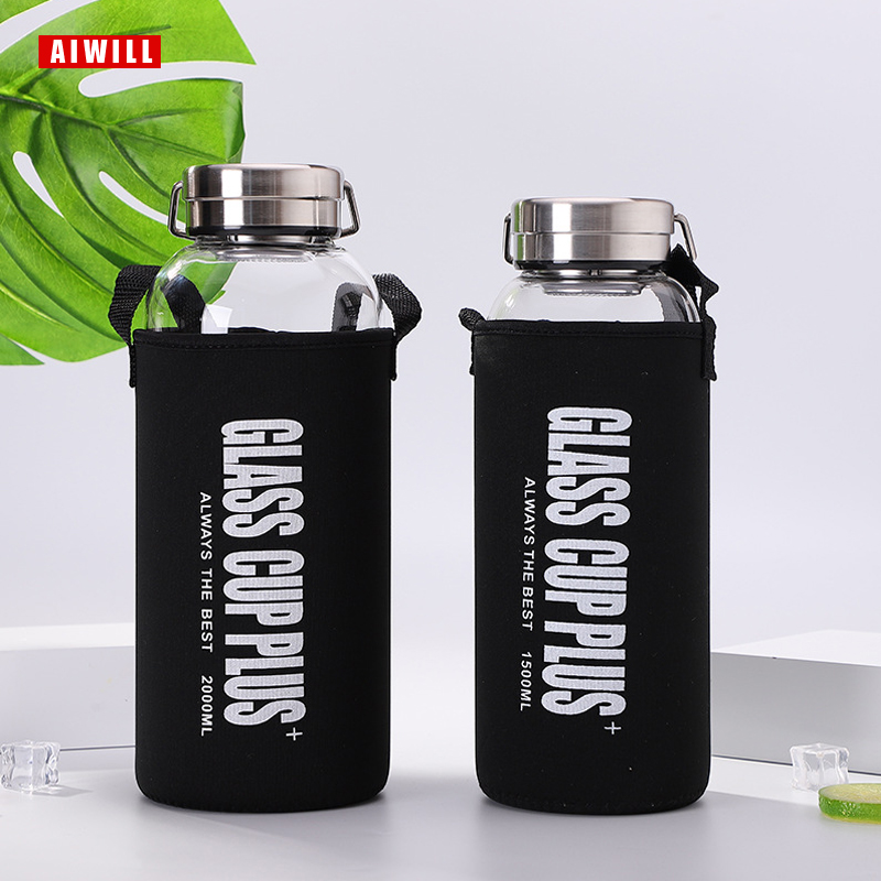 AIWILL Glass water bottle 2000ml/ 1500ml/1000ml/600ml outdoor Transparent portable large capacity glass bottles gift with bag|Water Bottles|   - AliExpress