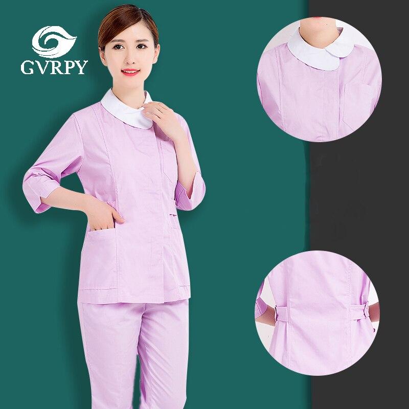 Purple Medical Uniforms Summer Beautician Short Sleeve Care Suit Hospital Beauty Salon Pharmacy Dental Clinic Nurse Overalls