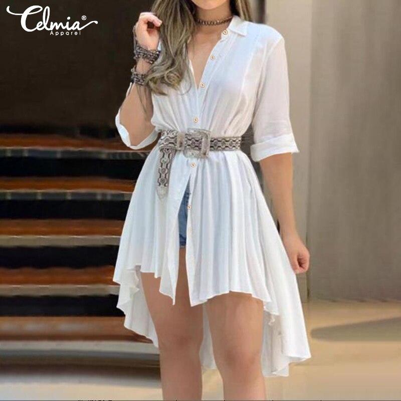 Celmia Women Chic White Long Blouse 2020 Summer Asymmetrical Lapel Neck Pleated Shirt Solid Female Casual Tops Blusas Femininas