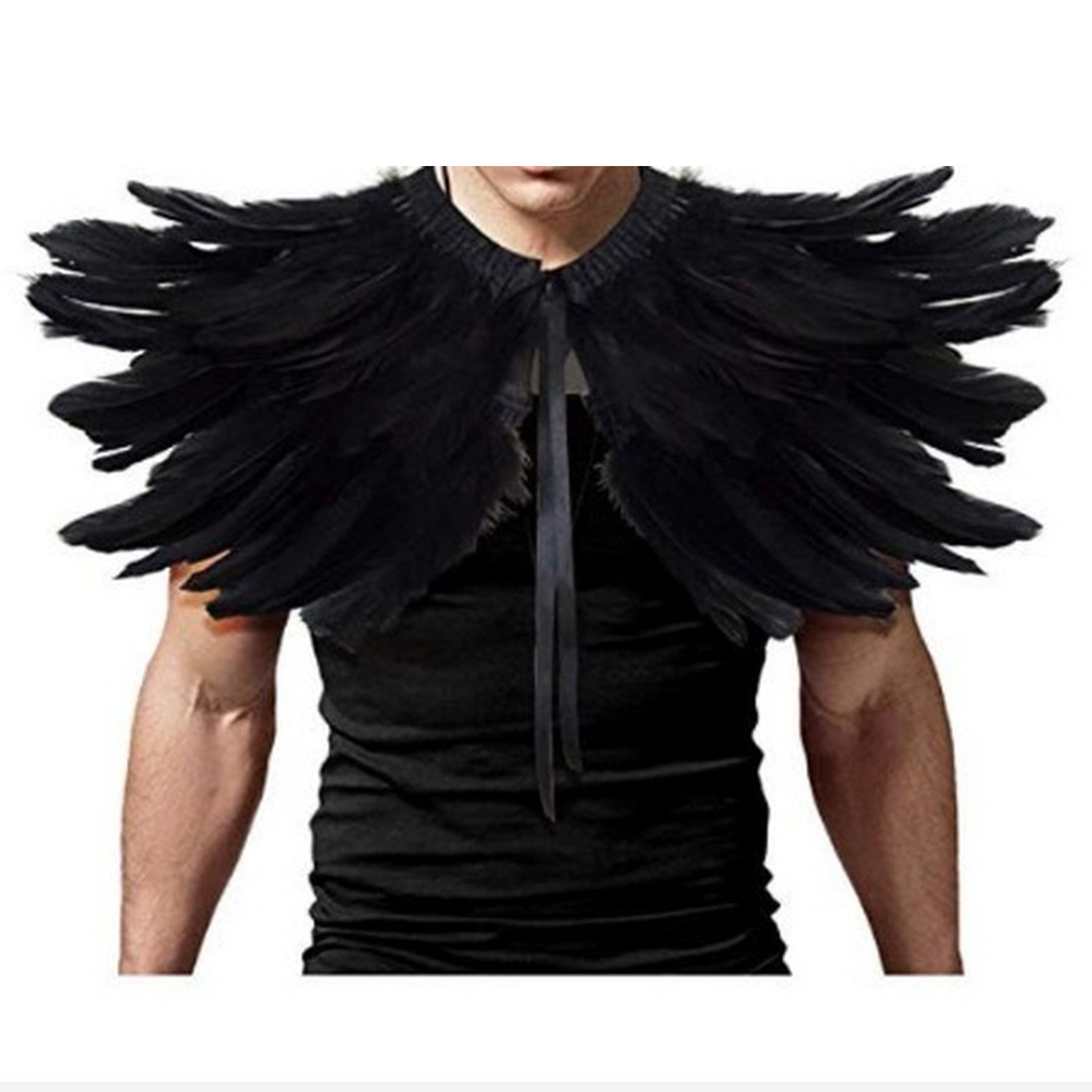 Feather Fake Collar Victorian Real Natural Feather Shrug Shawl Shoulder Wrap Cape Gothic Collar Cosplay Costume Performance