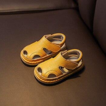 Summer Infant Sandals Baby Girls Boys Anti-collision Toddler Shoes Soft Bottom Genuine Leather Kids Children Beach