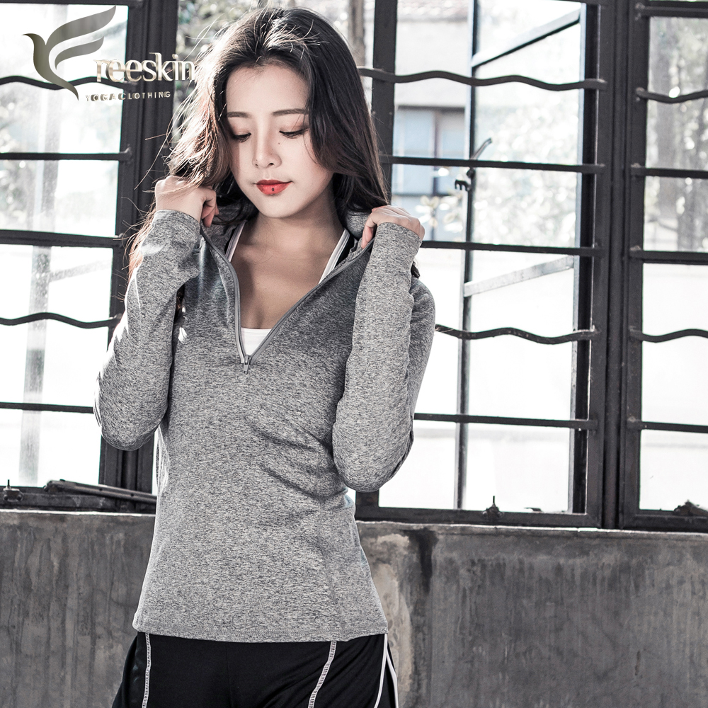 Zhangyunuo Woman Yoga Shirt Long Sleeve Fitness Front Zipper Opening Reflective Gym Yoga Sport Jerseys Top Running Jacket