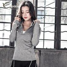 Zhangyunuo Woman Yoga Shirt Long Sleeve Fitness Front Zipper Opening Reflective Gym Sport Jerseys Top Running Jacket