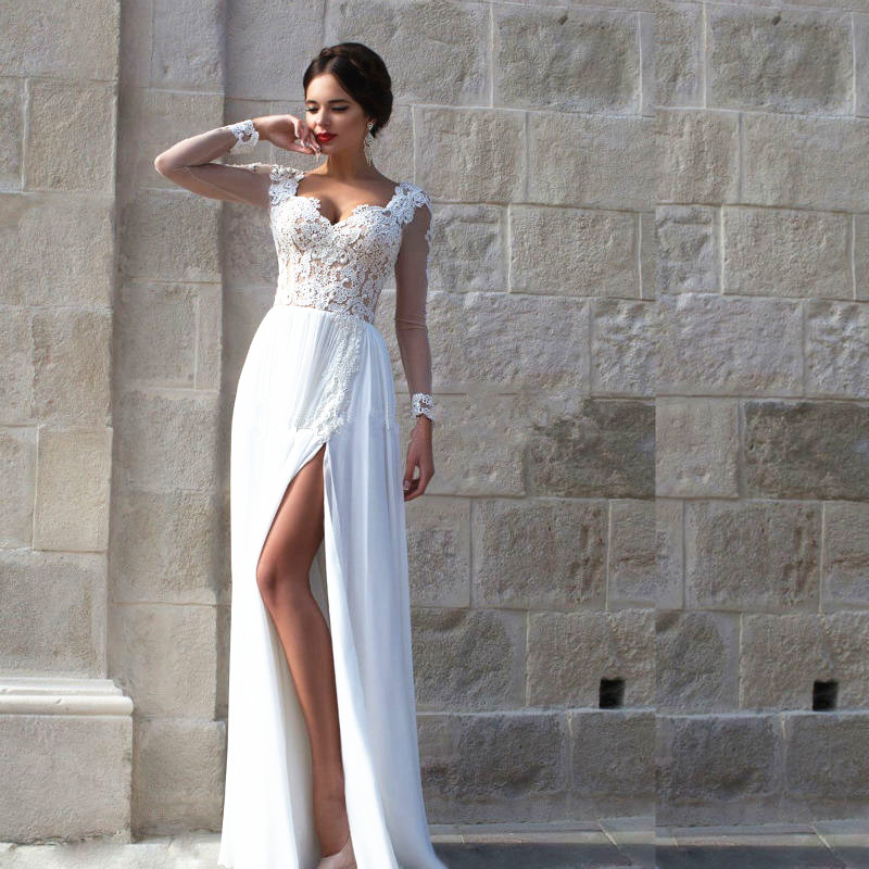 Sexy Split Long Sleeve Lace Vestido De Festa Applique Sweetheart Prom Party Gown Robe De Soiree 2018 Mother Of The Bride Dresses