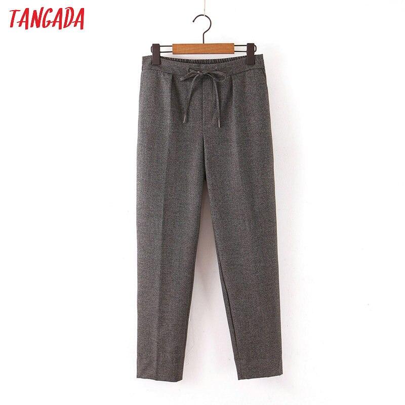 Tangada Women Plaid Print Gray Suit Pants Pocket Stretch Waist Bow Female Casual Pants Trousers QB85