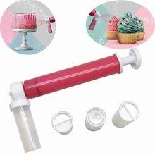 Manual airbrush para decoração de bolo coloração cozimento decoração ferramentas bolo pastelaria pulverização tubo cor duster