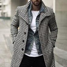 Laamei корейские мужские шерстяные пальто, пальто, Мужская зимняя теплая одежда, шерстяная верхняя одежда, длинные черные белые клетчатые смес...