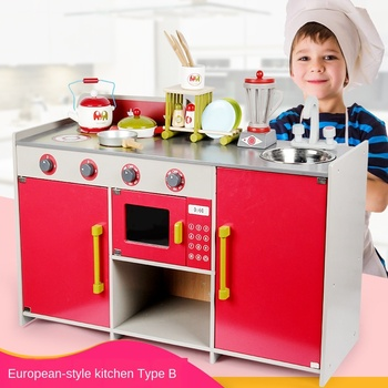 Children's Simulation Wooden Kitchen Stove Boy and Girl Baby Simulation Play Kitchen Puzzle Early Education Toy for Kids Gifts toddler walker baby boy and girl pretend play simulation shopping cart trolley wooden early education toy for kids birthday gift