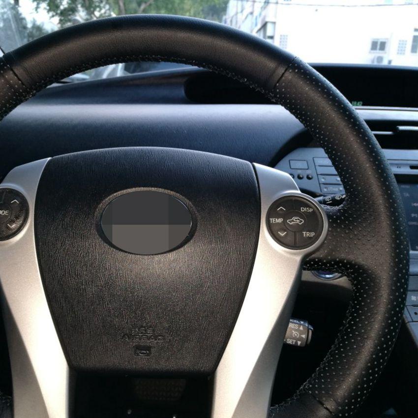 Black Leather Car Steering Wheel Cover for Toyota Prius 2009-2015 Aqua 2014-2015