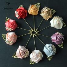 Ramillete de boda Lovegrace y botonnieres flores rosas de seda hojas doradas botonniere DE BODA rojo broche de corpiño alfileres